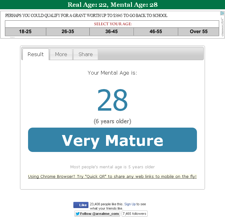Butterfly reccomend Mature age test
