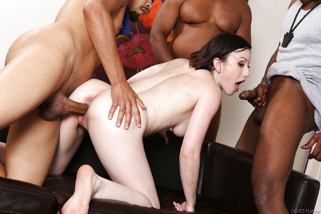 Beautiful women in interracial groupsex gangbang