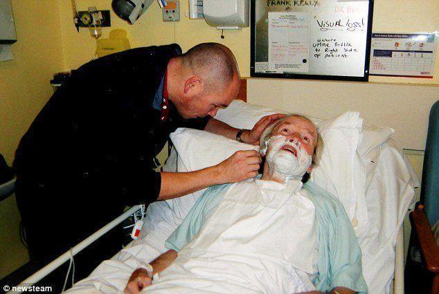 Busty nurse strokes patient